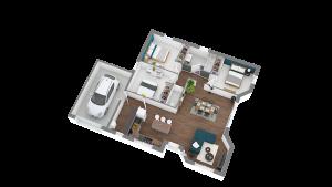 Maison à vendre : Guereins : Maison de plain pied de 87m carres sur une parcelle de 360m carres, Maisons d'en France 01