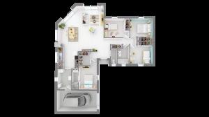 """Maison à vendre : Saint Georges de Reneins, Maison de Plain-pied en """"T"""" de 116m carres sur terrain de 700m carres, Maisons d'en France 01"""